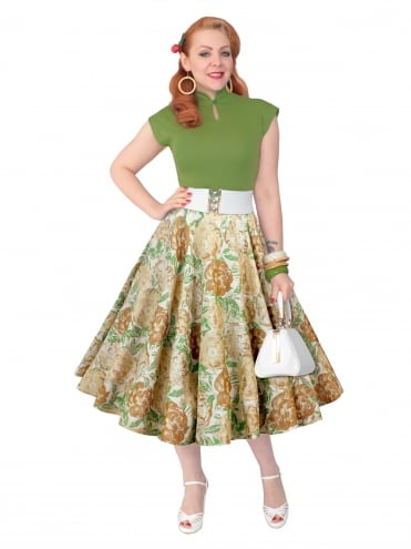 Circle Skirt Jacquard Green Tan