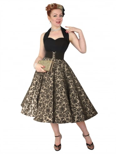 Circle Skirt Lace Gold Black