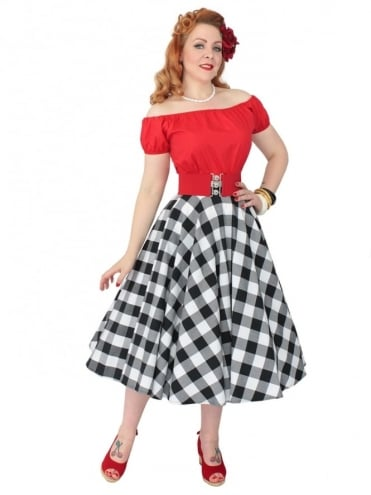 Circle Skirt Large Gingham Black