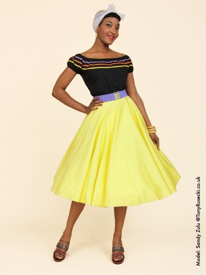 Circle Skirt Lemon Sateen