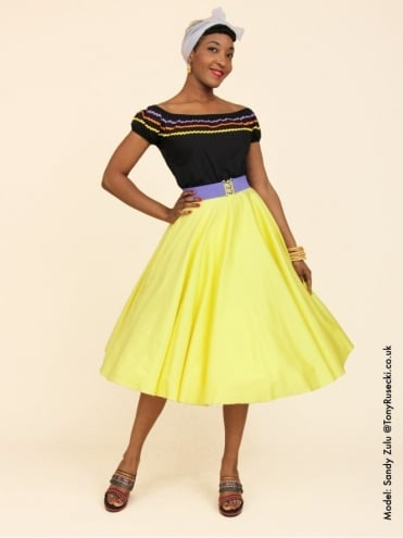 Circle Skirt Lemon Sateen