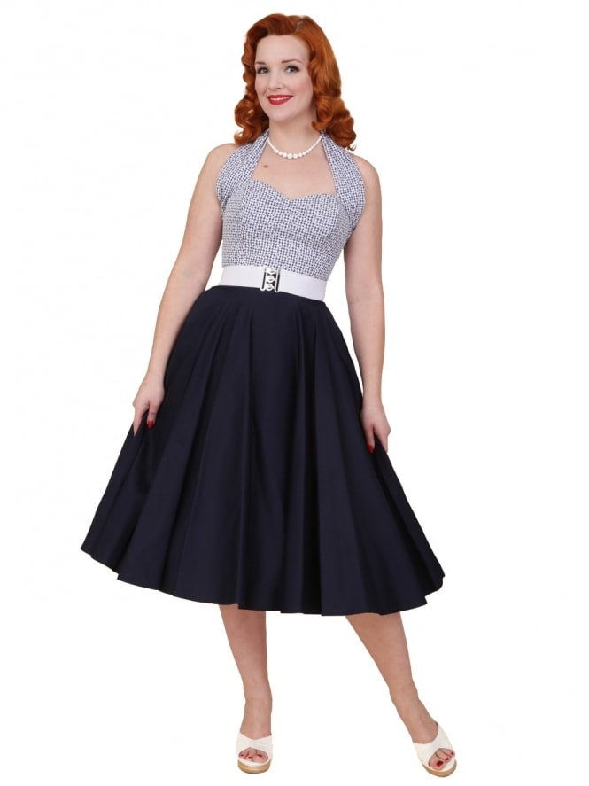 Circle Skirt Navy Sateen