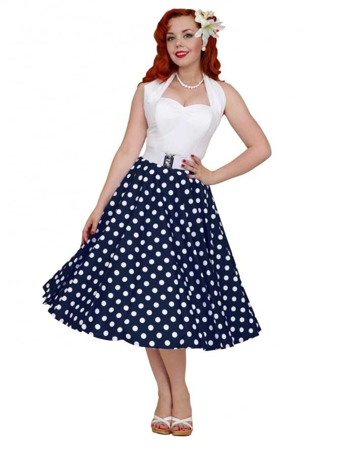 Circle Skirt Navy White Polka