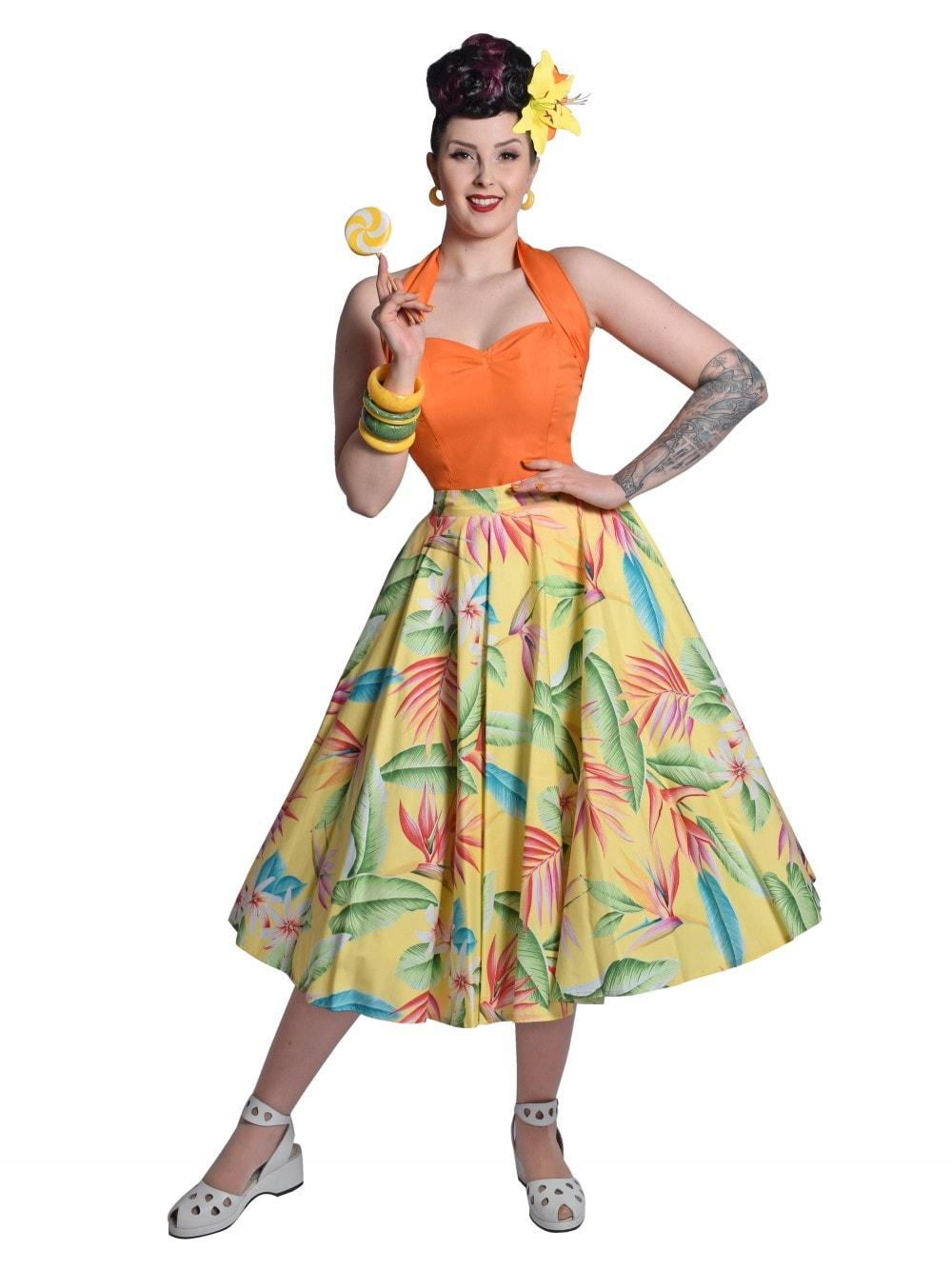 1950s Dress  50s Full Circle Skirt Hawaiian Tropical Floral Print Cotton Dress