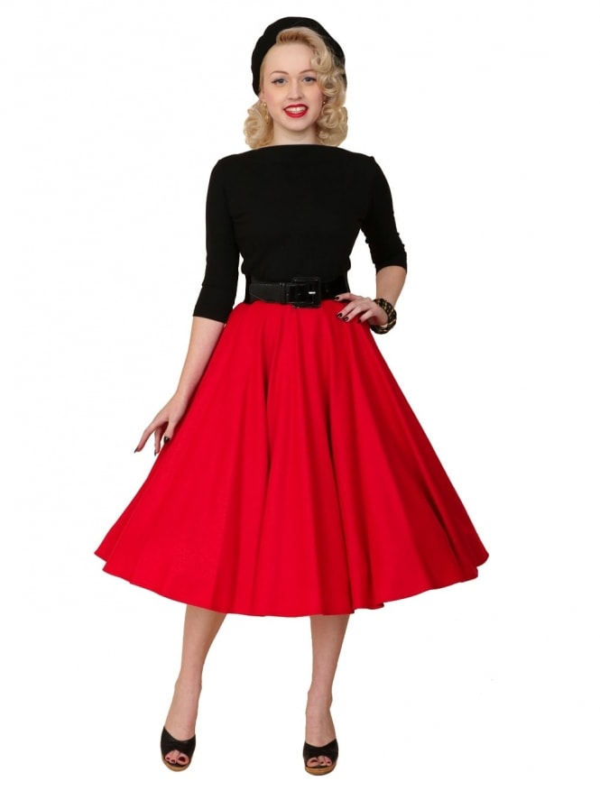 1940s-1950s-Vivien-of-Holloway-Circle-Skirt-Red Flannel-Rockabilly-Swing-Pinup