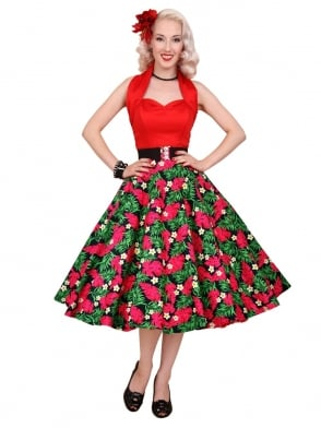 Circle Skirt Red Palm