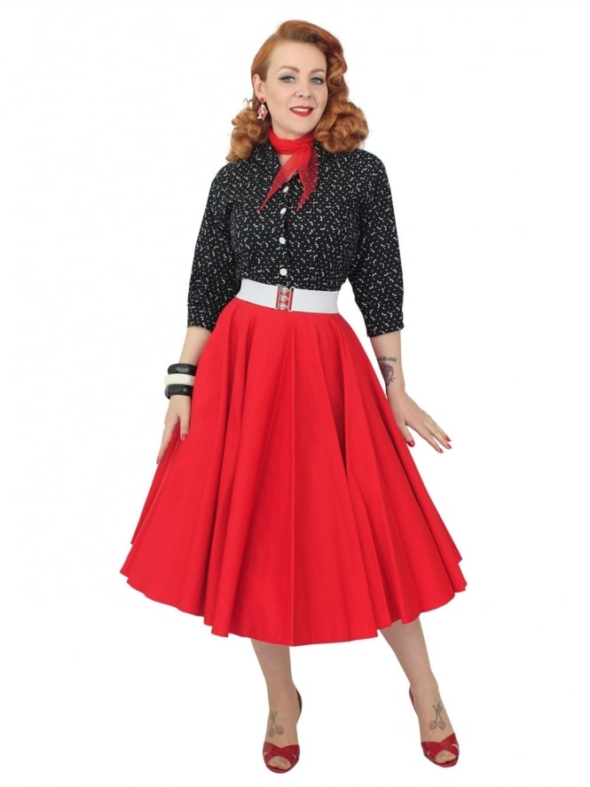 Circle Skirt Red Sateen
