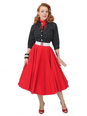 Circle Skirt Red Sateen