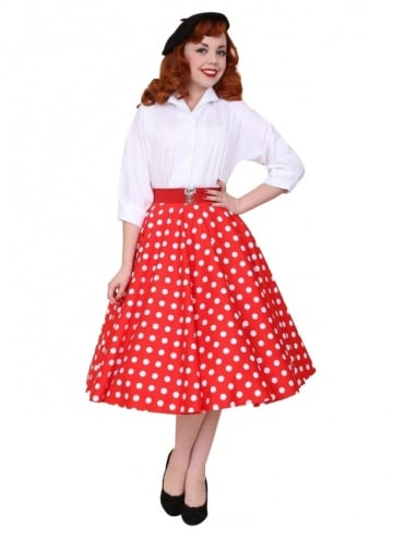 Circle Skirt Red White Polka