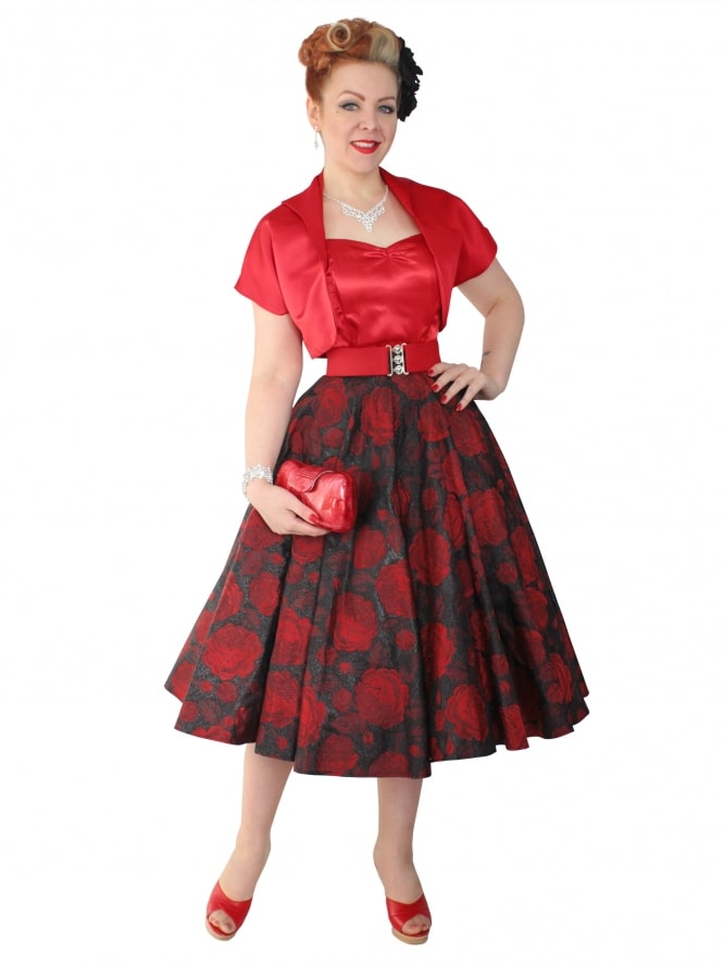 Circle Skirt Rose Black Red