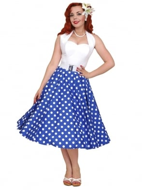 Circle Skirt Royal White Polka