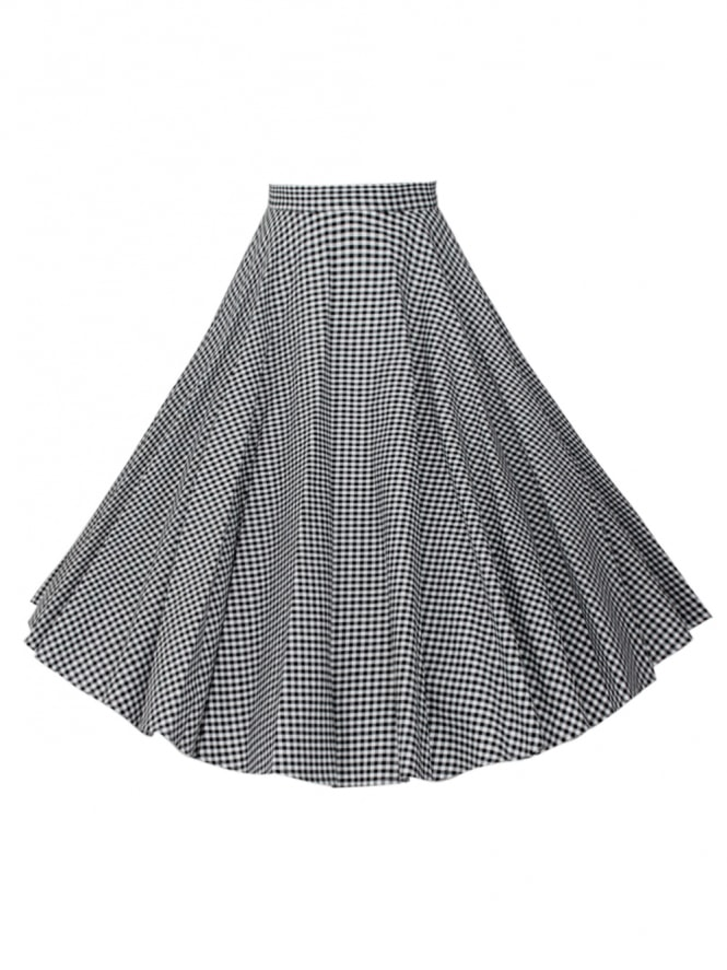 Circle Skirt Small Gingham Black
