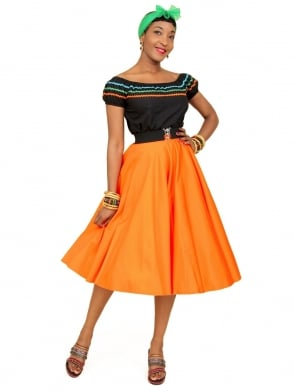 Circle Skirt Tangerine Sateen