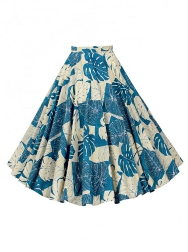Circle Skirt Tropical Leaf Blue