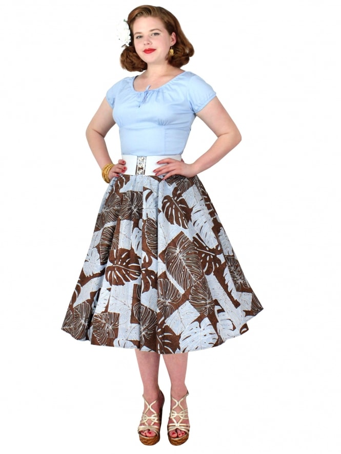Circle Skirt Tropical Leaf Brown