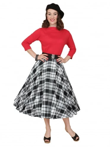 Circle Skirt White Black Tartan