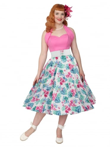 Circle Skirt White Blue Pink
