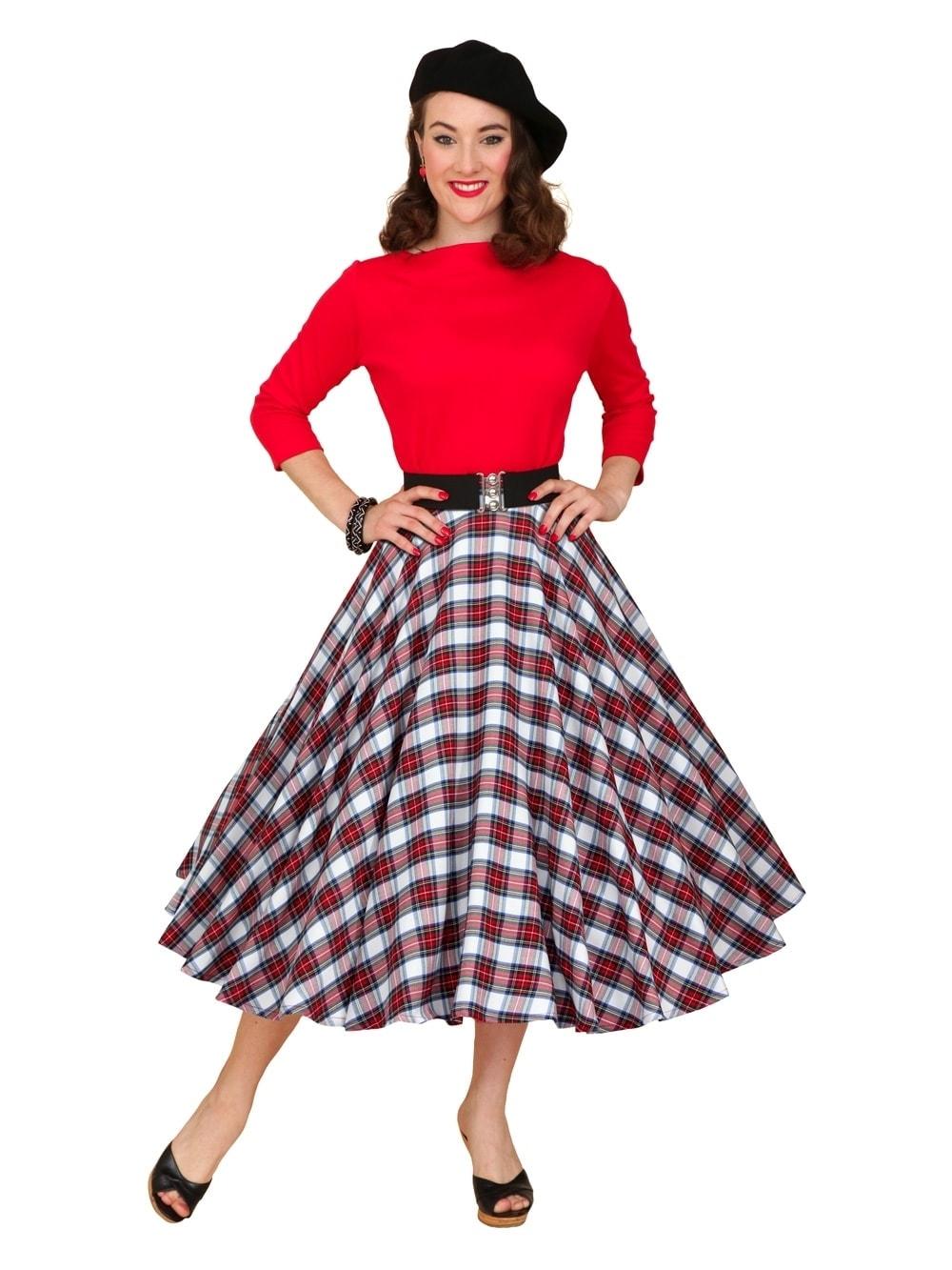 96b5113def 1950s Circle Skirt White Red Tartan from Vivien of Holloway