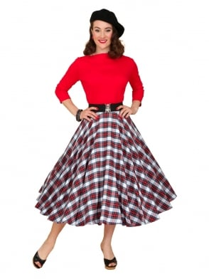 Circle Skirt White Red Tartan