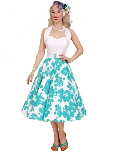 Circle Skirt White Turquoise Floral