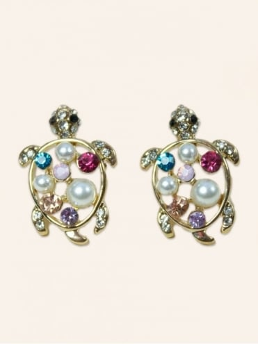 Crystal Gem Turtle Earrings