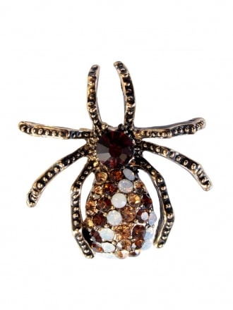 Dark Amber Diamante Spider Brooch