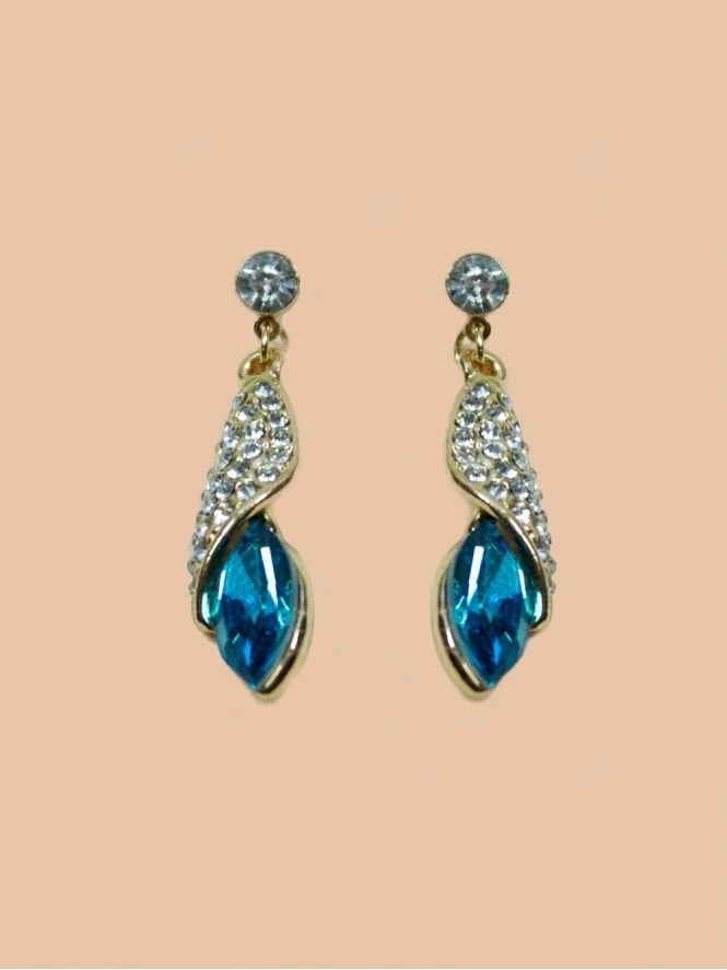 Diamante Crystal Drop Earrings - Turquoise