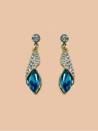 Diamante Crystal Drop Earrings - Turquoise