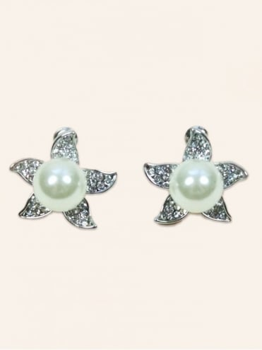 Diamante Starfish Pearl Earrings