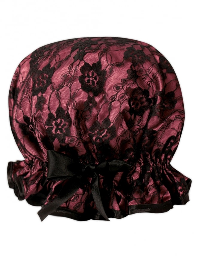 Dusky Pink and Black Lace Shower Cap