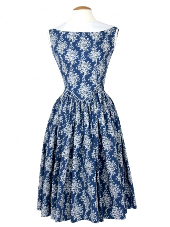 50s-1950s-Vivien-of-Holloway-Best-Vintage-Reproduction-Emma-Dress-Floral-Blue-Cotton-Rockabilly-Swing-Pinup