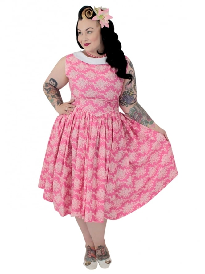 50s-1950s-Vivien-of-Holloway-Best-Vintage-Reproduction-Emma-Dress-Floral-Pink-Cotton-Rockabilly-Swing-Pinup