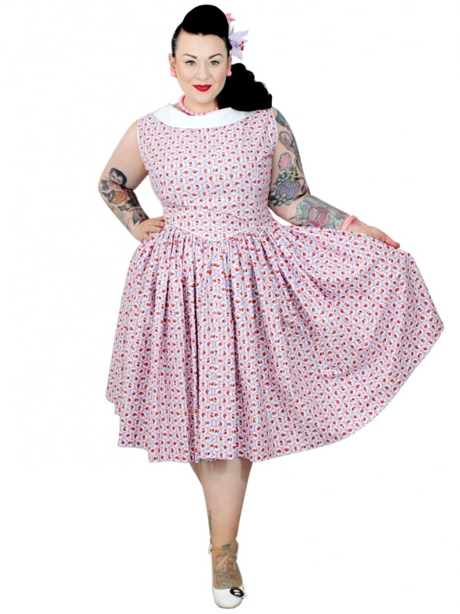 50s-1950s-Vivien-of-Holloway-Best-Vintage-Reproduction-Emma-Dress-Scallop-Rose-Lilac-Cotton-Rockabilly-Swing-Pinup
