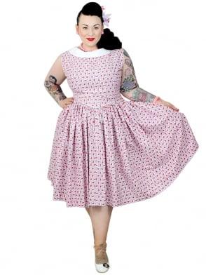 Emma Dress Scallop Rose Lilac