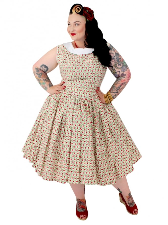 50s-1950s-Vivien-of-Holloway-Best-Vintage-Reproduction-Emma-Dress-Scallop-Rose-Pistachio-Cotton-Rockabilly-Swing-Pinup