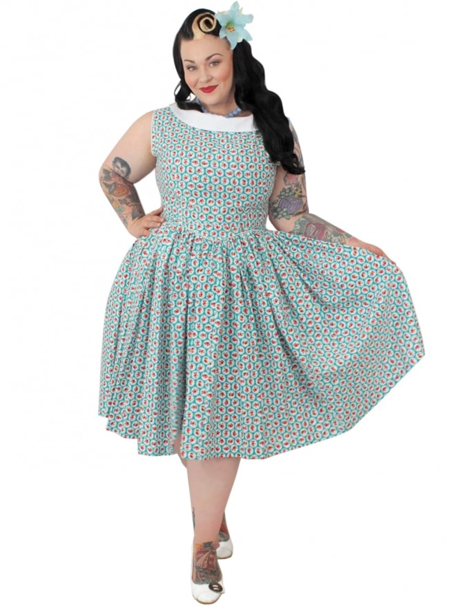 Emma Dress Scallop Rose Turquoise