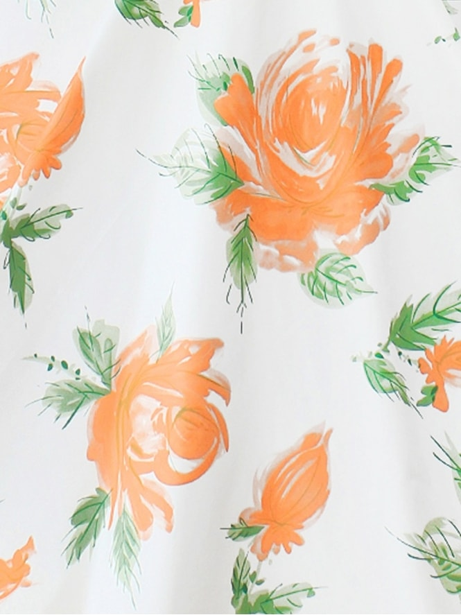 40s-1940s-50s-1950s-Vivien-of-Holloway-Best-Vintage-Style-Reproduction-Repro-Victory-Rose-Peach-Floral-Cotton-Fabric-Swing-Pinup-Rockabilly