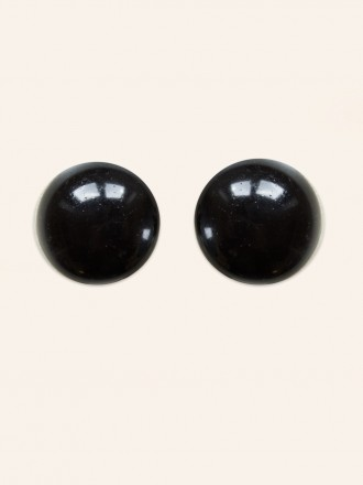 Glass Black Bead Button Clip On Earrings