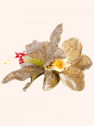 Gold Glitter Hair Flower