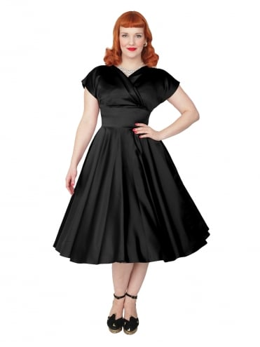 40s-1940s-Vivien-of-Holloway-Best-Vintage-Reproduction-Grace-Wrap-Circle-Dress-Black-Duchess-Satin-Hollywood-Swing-Pinup