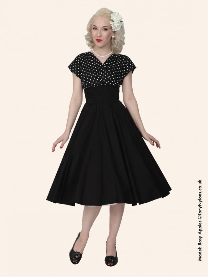 Grace Black White Spot Bust Dress