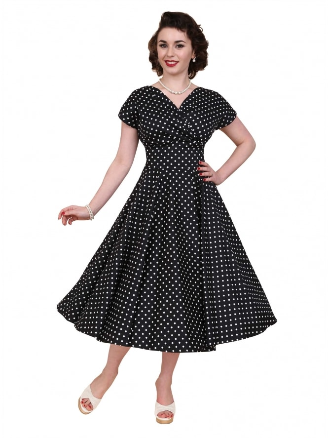 Grace Black White Spot Dress