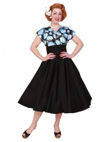 40s-1940s-Vivien-of-Holloway-Best-Vintage-Reproduction-Grace-Wrap-Circle-Dress-Black-Blue-Rose-Floral-Hollywood-Swing-Pinup