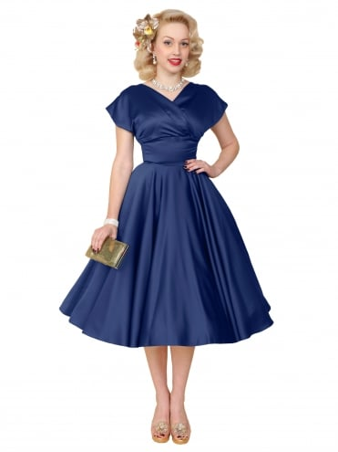 40s-1940s-Vivien-of-Holloway-Best-Vintage-Reproduction-Grace-Wrap-Circle-Dress-Blueberry-Blue-Duchess-Satin-Hollywood-Swing-Pinup