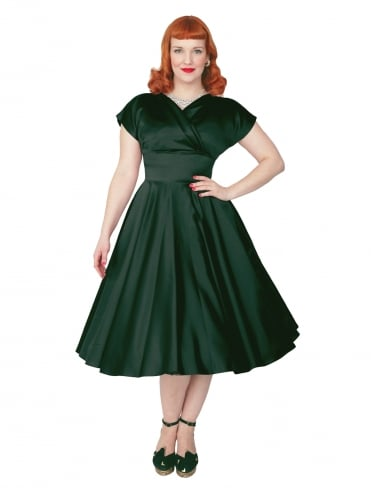 40s-1940s-Vivien-of-Holloway-Best-Vintage-Reproduction-Grace-Wrap-Circle-Dress-Dark Green-Duchess-Satin-Hollywood-Swing-Pinup