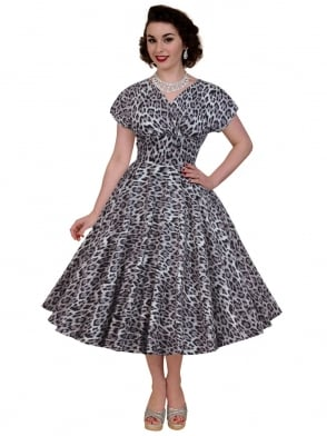 Grace Dress Silver Leopard
