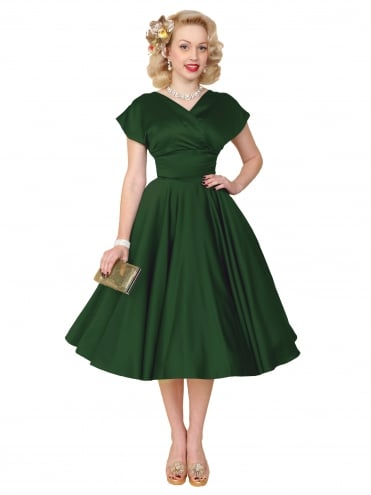 40s-1940s-Vivien-of-Holloway-Best-Vintage-Reproduction-Grace-Wrap-Circle-Dress-Forest-Green-Duchess-Satin-Hollywood-Swing-Pinup