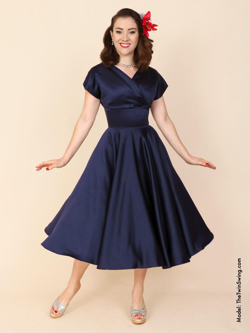 1940s Dress Silky Stars Vintage 40s Dress: Grace Dress Navy Duchess From Vivien Of Holloway