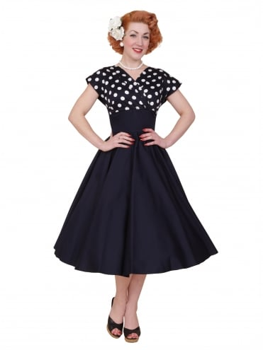 40s-1940s-Vivien-of-Holloway-Best-Vintage-Reproduction-Grace-Wrap-Circle-Dress-Navy-White-Polka-Polkadot-Hollywood-Swing-Pinup