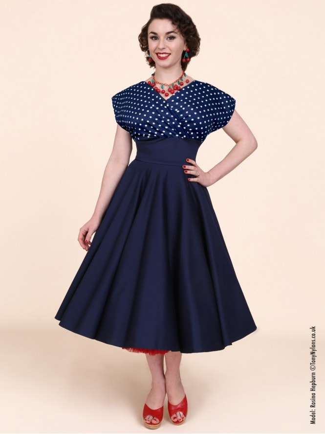 40s-1940s-Vivien-of-Holloway-Best-Vintage-Reproduction-Grace-Wrap-Circle-Dress-Navy-White-Spot-Hollywood-Swing-Pinup